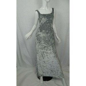 Boston Proper Sleeveless Velvet Gown Gray Beaded M